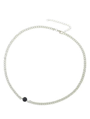 Beaded Link Chain Choker - Silver