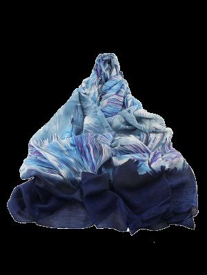 Boho Abstract Line Print Wrap Scarf - Blue