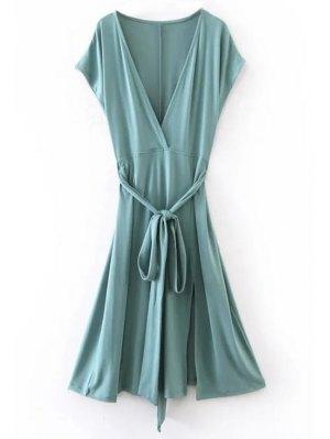 Belted Plunging Neck Slit Dress - Blue Green
