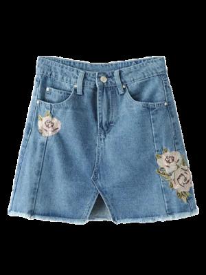 Front Slit Floral Embroidered Denim Skirt - Denim Blue