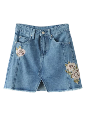 Front Slit Floral Embroidered Denim Skirt - Denim Blue