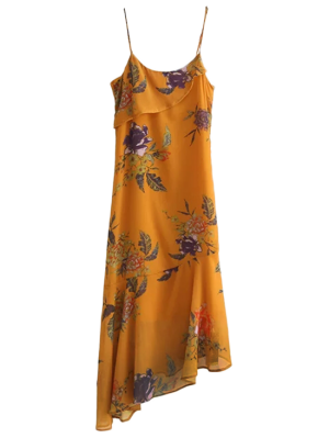 Floral Asymmetric Slip Dress - Deep Yellow