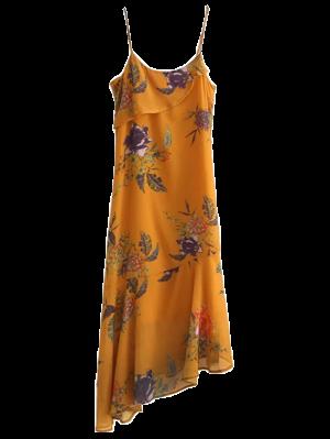 Floral Asymmetric Slip Dress - Deep Yellow