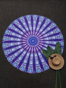 Round Mandala Print Beach Throw