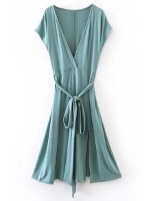 Belted Plunging Neck Slit Dress - Blue Green S