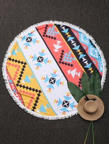 Geometric Beach Round Throw With Tassels