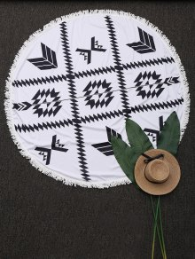 Round Fringed Geometric Beach Throw