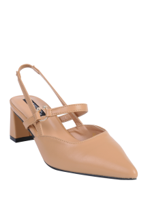 Pointed Toe Chunky Heel Slingback Pumps - Apricot