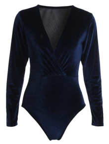 Long Sleeve Velvet Bodysuit - Cadetblue