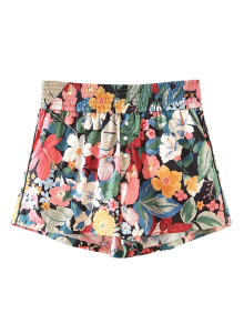 Button Embellished Tropical Floral Shorts