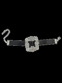 Rhinestone Faux Leather Flower Bracelet