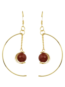 Faux Gem Bead Chain Circle Earrings
