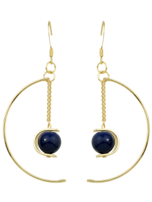 Faux Gem Bead Chain Circle Earrings - Blue