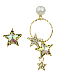 Faux Pearl Asymmetric Star Earrings - Golden