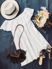 Frilly Off The Shoulder Dress - White