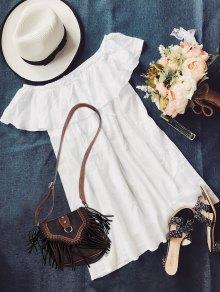 خارج الكتف اللباس - أبيض L
