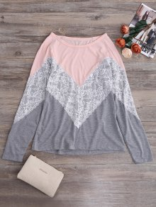 Long Sleeves Chevron Panel Tee