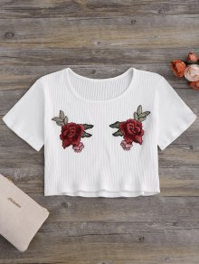Floral Patches Ribbed Crop Top