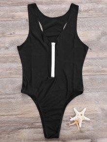 Zipper High Leg One Piece Swimsuit - Black S