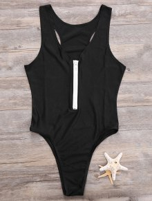 Zipper High Leg One Piece Swimsuit - Black M