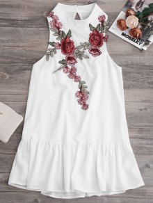 Parches Volante Hem Mini Vestido - Blanco