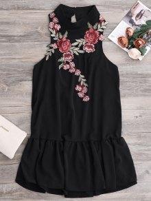 Mini-robe à Patchs Brodés Et Ourlets Volantés - Noir