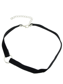 Collier En Velours D'alliage De Cercles - Noir
