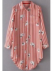 Crane Print Striped Longline Shirt - Red