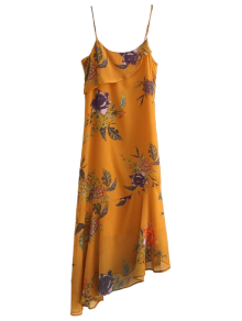 Floral Asymmetric Slip Dress - Deep Yellow L