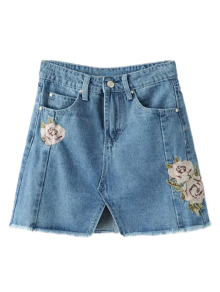 Front Slit Floral Embroidered Denim Skirt