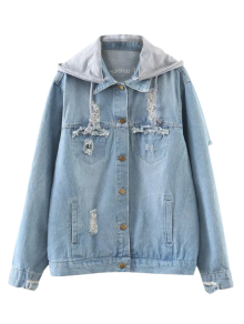 Embroidered Ripped Denim Jacket with Hoodie