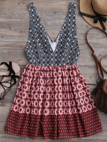 Plunging Neck Printed Mini Dress