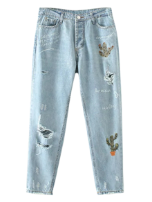 Cereus Embroidered Ripped Jeans - Light Blue