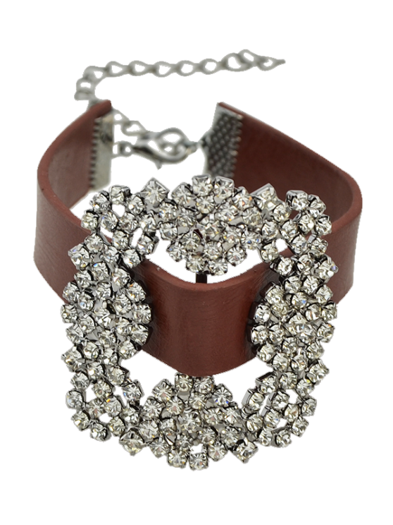 outfit Rhinestone Faux Leather Flower Bracelet - BROWN