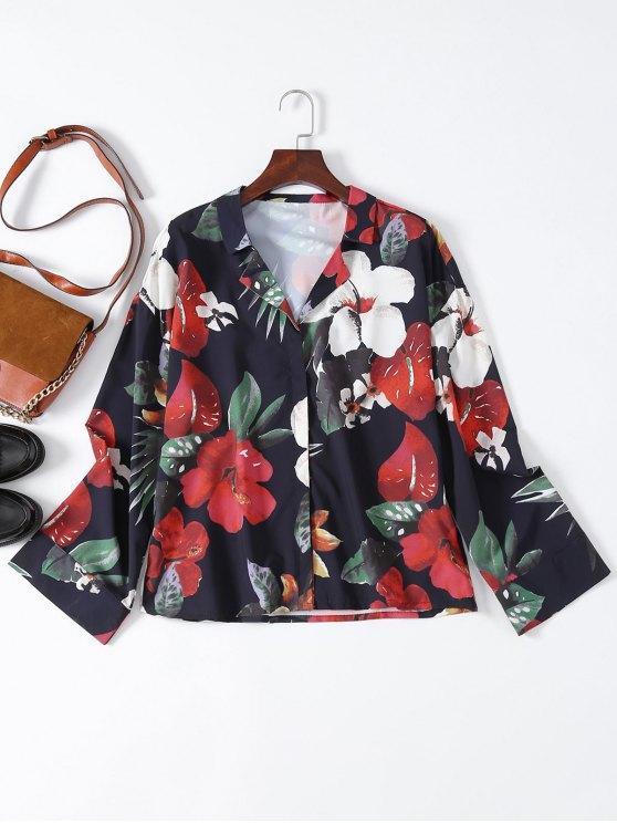 Floral de la solapa de la camisa de cuello - Floral M