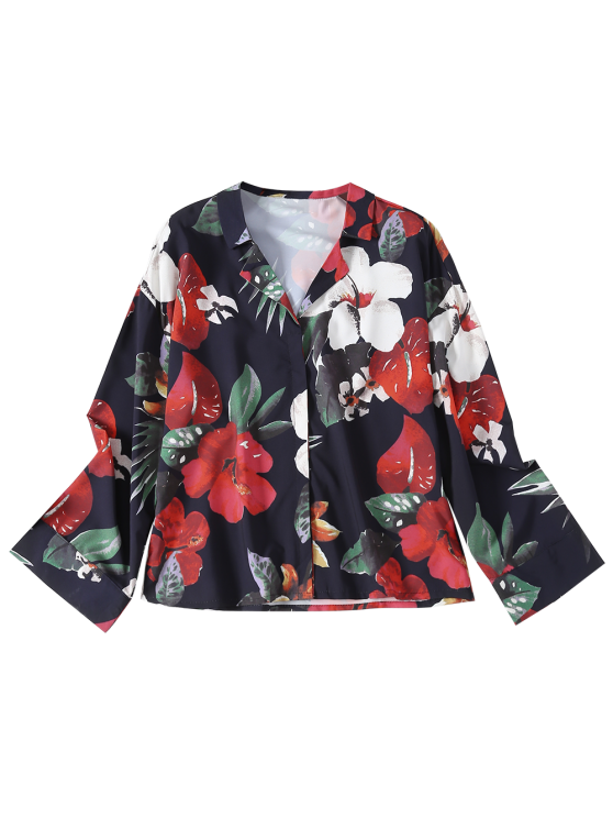 Floral Lapel Collar Shirt - FLORAL S Mobile