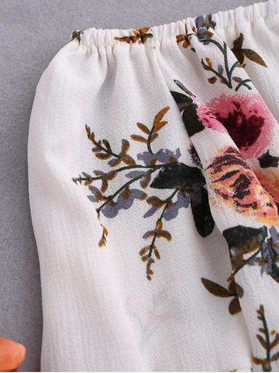 Floral Flare Sleeve Off Shoulder Blouse - WHITE S Mobile