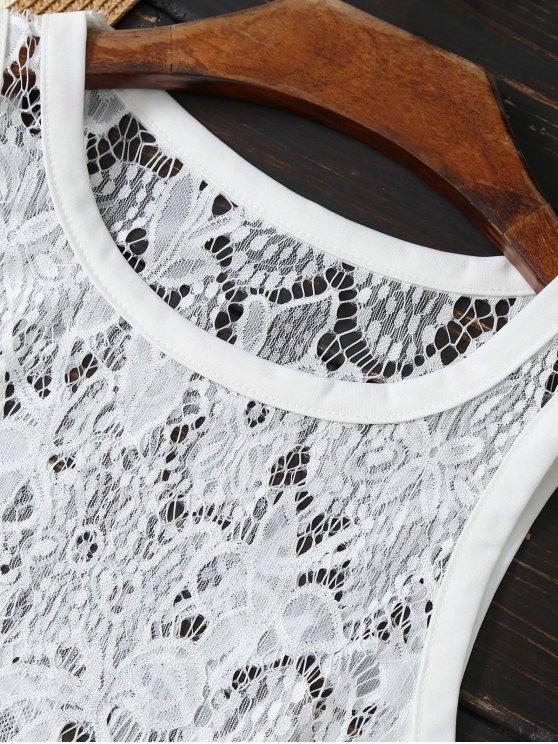 Asymmetric Lace Top - WHITE XL Mobile