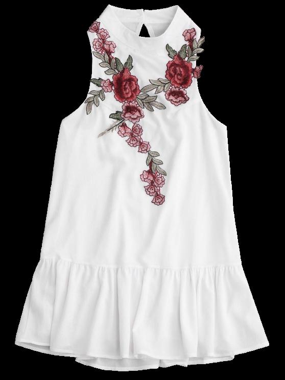 Patches Frill Hem Mini Dress - WHITE M Mobile