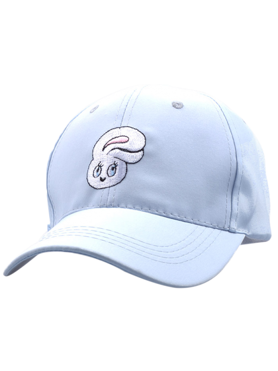 Cartoon Rabbit Head Embroidery Baseball Hat - LIGHT BLUE  Mobile