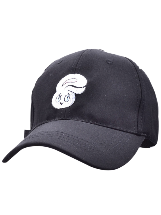 Casquette de Baseball brodée de tête de lapin en cartoon - Noir