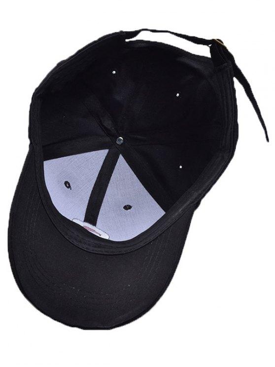 Cartoon Rabbit Head Embroidery Baseball Hat - BLACK  Mobile