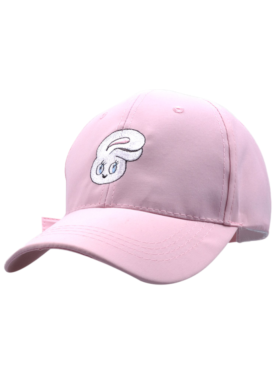 women's Cartoon Rabbit Head Embroidery Baseball Hat - PINK