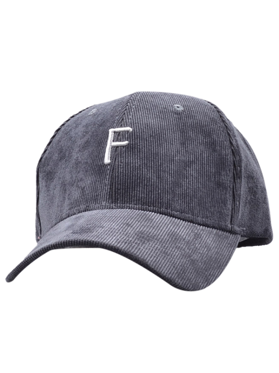 ladies Label F Corduroy Baseball Hat - GRAY