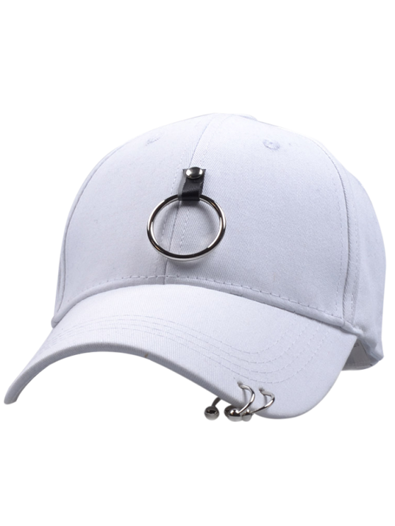 Metal Loop Punk Baseball Hat - WHITE  Mobile