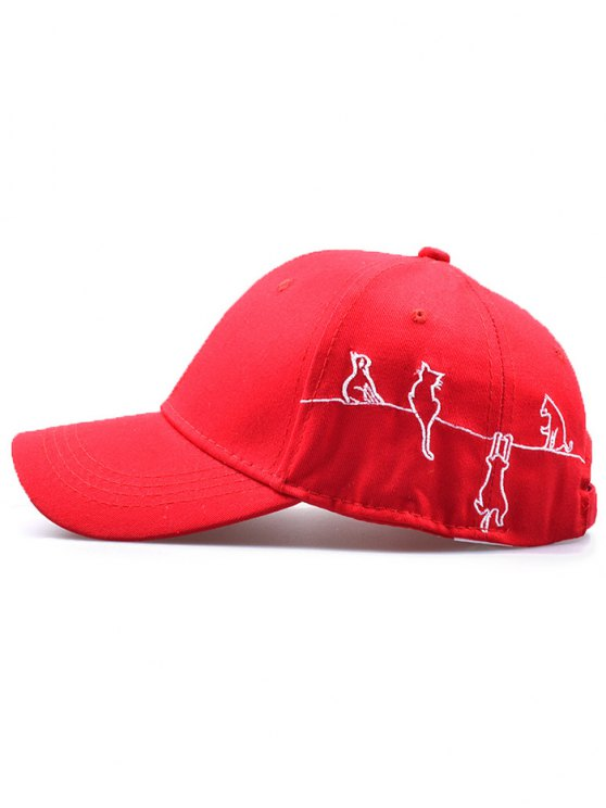 Little Cat Posture Embroidery Baseball Hat - RED  Mobile