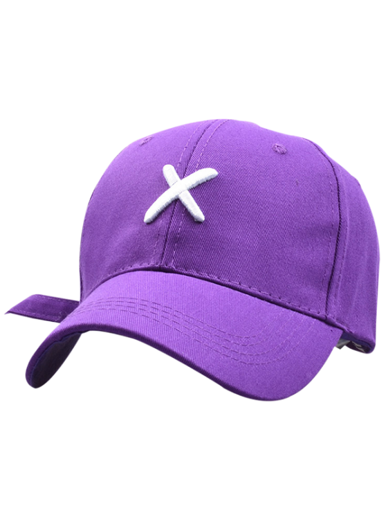 Cross Embroidery Baseball Hat - PURPLE  Mobile