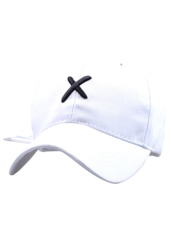 chic Cross Embroidery Baseball Hat - WHITE