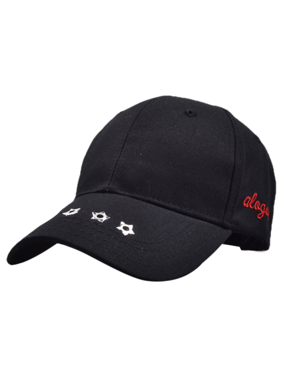 affordable Traverse Star Rivet Letters Baseball Cap - BLACK