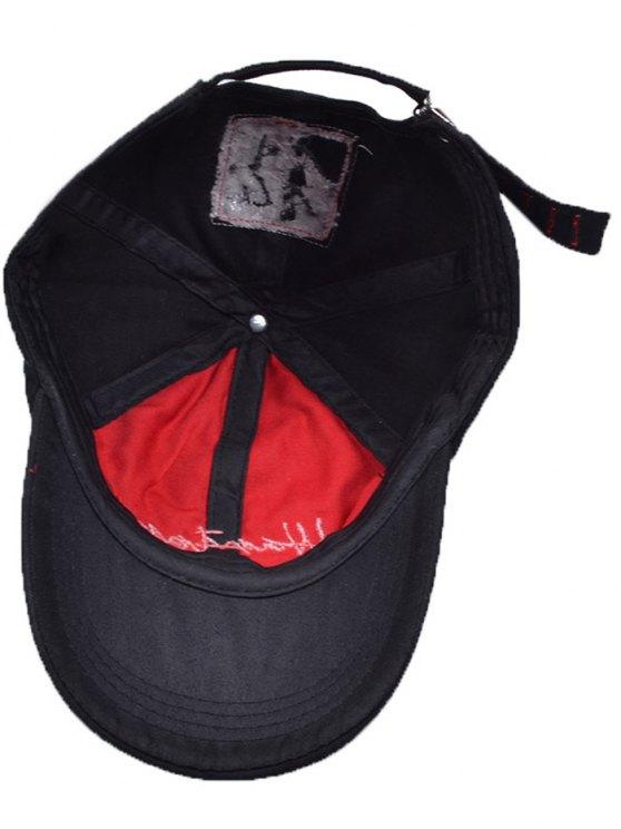 Letters Embroidery Holes Baseball Cap - BLACK  Mobile